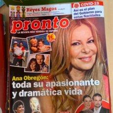 Coleccionismo de Revista Pronto: REVISTA PRONTO Nº 2535 / 2020 MARADONA / ANA OBREGON / MARIO BIONDO ETC....... Lote 244572295