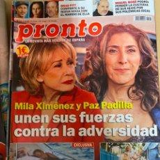 Coleccionismo de Revista Pronto: REVISTA PRONTO Nº2523 AÑO 2020 MILA XIMENEZ / PAZ PADILLA / MIGUEL BOSE / BRAD PITT / MARTA GAYA.... Lote 244573690
