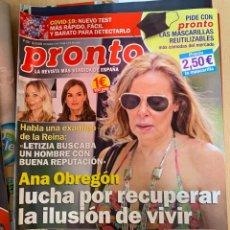 Coleccionismo de Revista Pronto: REVISTA PRONTO Nº2527 AÑO 2020 ANA OBREGON / JESULIN UBRIQUE / REINA LETIZIA / ETC.... Lote 244574315