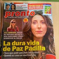 Coleccionismo de Revista Pronto: REVISTA PRONTO Nº2529 AÑO 2020 PAZ PADILLA / ANA OBREGON / RAFA NADAL / ROCIO CARRASCO ETC.... Lote 244575220