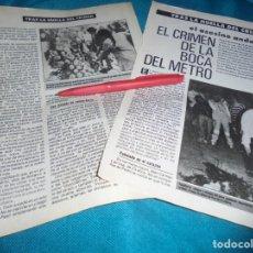 Coleccionismo de Revista Pronto: RECORTE : TRAS LA HUELLA DEL CRIMEN : EL CRIMEN DE LA BOCA DEL METRO. PRONTO, MAYO 1987(#). Lote 244675260