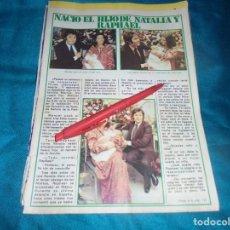 Coleccionismo de Revista Pronto: RECORTE : NACE EL HIJO DE RAPHAEL Y NATALIA. PRONTO, ENERO 1979(#). Lote 245367475