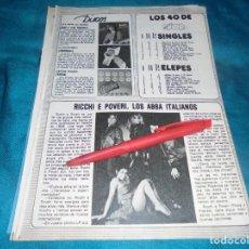 Coleccionismo de Revista Pronto: RECORTE : RICCHI E POVERI, LOS ABBA ITALIANOS. PRONTO, MAYO 1981(#). Lote 245368805