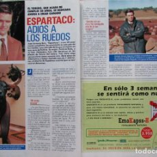 Coleccionismo de Revista Pronto: RECORTE REVISTA PRONTO N.º 1068 1992 JUAN ANTONIO RUIZ ESPARTACO. GRECIA COLMENARES. Lote 245765105