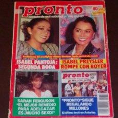 Coleccionismo de Revista Pronto: PRONTO NÚM 766. ISABEL PANTOJA - MADONNA - CARMEN SEVILLA + PÓSTER ROB LOWE. Lote 246064395