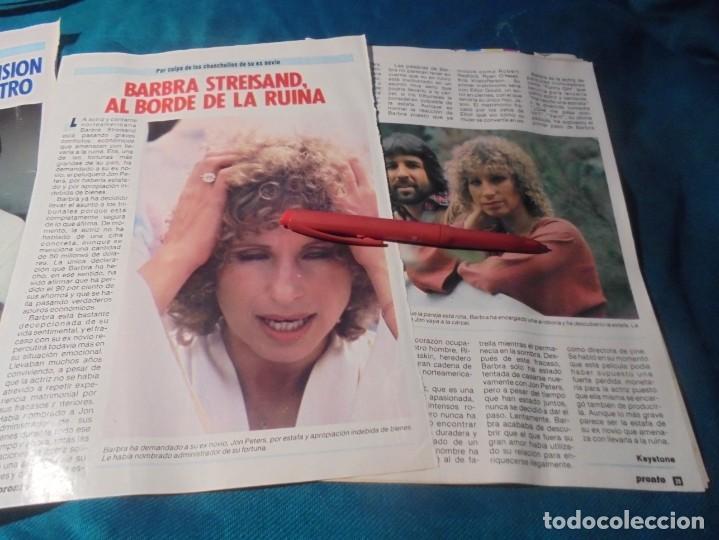 RECORTE : BARBRA STREISAND, AL BORDE DE LA RUINA. PRONTO, SPTBRE 1985(#) (Papel - Revistas y Periódicos Modernos (a partir de 1.940) - Revista Pronto)