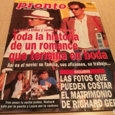 Coleccionismo de Revista Pronto: REVISTA PRONTO N ° 1178 - 3/12/94 - LA INFANTA ELENA Y JAIME DE MARICHALAR / RICHARD GERE. Lote 252834330