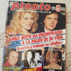 Colecionismo da Revista Pronto: REVISTA PRONTO Nº 653 - AÑO 1984 - CAMILO SESTO - LADY DI - MANOLO ESCOBAR - MARILYN MONROE. Lote 253260670