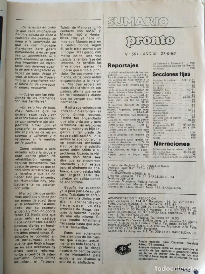Coleccionismo de Revista Pronto: Revis PRONTO 581 Sara Montiel María Jiménez Marisol Arturo Fernández Alfredo Landa Imperio Argentina - Foto 11 - 261233170