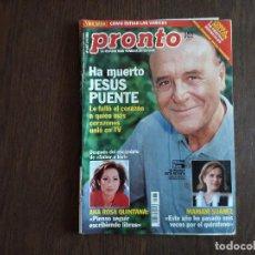 Coleccionismo de Revista Pronto: REVISTA PRONTO, NÚMERO 1487, 04-11-2000. Lote 261264755