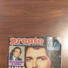 Coleccionismo de Revista Pronto: REVISTA PRONTO Nº 555 AÑO 1985. CAMILO SESTO SE CASA. POSTER E.T.. Lote 261897195