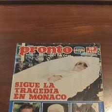 Coleccionismo de Revista Pronto: REVISTA - PRONTO Nº 543 - 4.10.82. EN PORTADA: GRACE KELLY TRAGEDIA EN MONACO. Lote 261897985