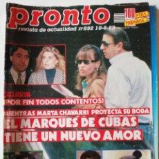 Coleccionismo de Revista Pronto: REVISTA PRONTO Nº 892 MARTA CHAVARRI GRACE KELLY ROB LOWE KIKO RIVERA ISABEL PANTOJA RUIZ MATEOS. Lote 262082485
