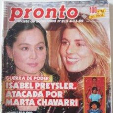 Coleccionismo de Revista Pronto: REVISTA PRONTO Nº 913 ISABEL PREYSLER MARTA CHÁVARRI VICKY LARRAZ PAQUITA RICO CAMILO JOSÉ CELA. Lote 262084420