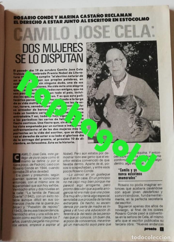 Coleccionismo de Revista Pronto: PRONTO nº 914 Camilo José Cela Marta Sánchez Vicky Larraz Lola Flores Los Morancos Travolta Heróica - Foto 4 - 262084850