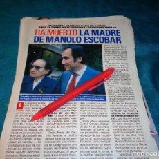 Coleccionismo de Revista Pronto: RECORTE : HA MUERTO LA MADRE DE MANOLO ESCOBAR. PRONTO, DCMBRE 1988(#). Lote 267485174