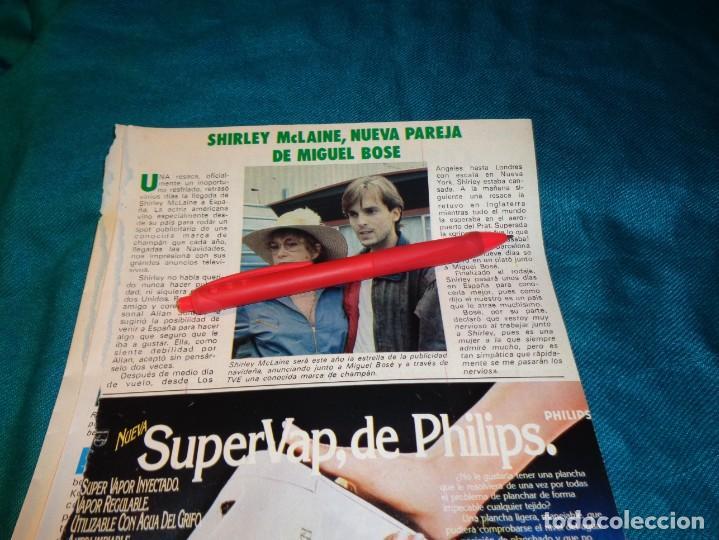 RECORTE : SHIRLEY MCLAINE, NUEVA PAREJA DE MIGUEL BOSE. PRONTO, OCTBRE 1983(#) (Papel - Revistas y Periódicos Modernos (a partir de 1.940) - Revista Pronto)