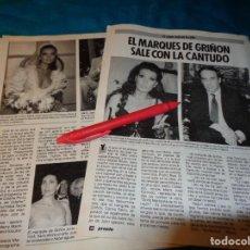 Coleccionismo de Revista Pronto: RECORTE : MARIA JOSE CANTUDO, SALE CON EL MARQUES DE GRIÑON. PRONTO, NVBRE 1986(#). Lote 267485874