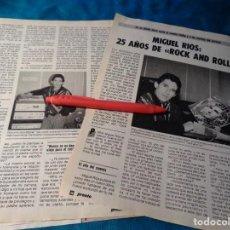 Coleccionismo de Revista Pronto: RECORTE : MIGUEL RIOS, 25 AÑOS DE ROCK AND ROLL. PRONTO, NVBRE 1986(#). Lote 267486439