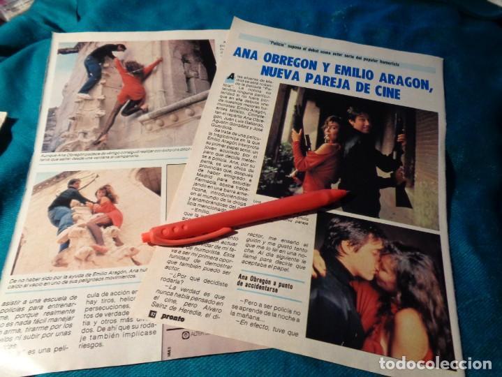 RECORTE : ANA OBREGON Y EMILIO ARAGON, PAREJA DE CINE. PRONTO, NVBRE 1986(#) (Papel - Revistas y Periódicos Modernos (a partir de 1.940) - Revista Pronto)