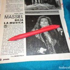 Coleccionismo de Revista Pronto: RECORTE : MASSIEL, DEJA LA MUSICA. PRONTO, MAYO 1987(#). Lote 267486739