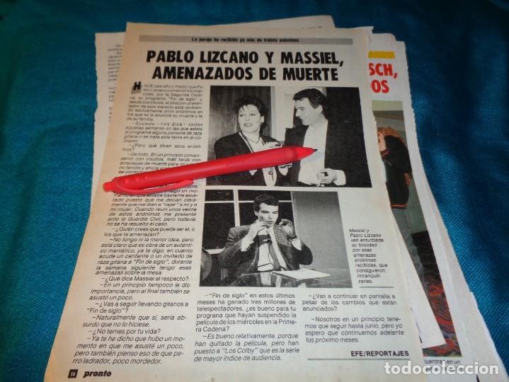 RECORTE : MASSIEL Y PABLO LIZCANO, AMENAZADOS DE MUERTE. PRONTO, FBRO 1987(#) (Papel - Revistas y Periódicos Modernos (a partir de 1.940) - Revista Pronto)