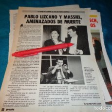 Coleccionismo de Revista Pronto: RECORTE : MASSIEL Y PABLO LIZCANO, AMENAZADOS DE MUERTE. PRONTO, FBRO 1987(#). Lote 267487294