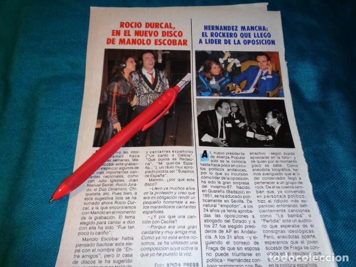 RECORTE : ROCIO DURCAL, EN EL NUEVO DISCO DE MANOLO ESCOBAR. PRONTO, FBRO 1987(#) (Papel - Revistas y Periódicos Modernos (a partir de 1.940) - Revista Pronto)