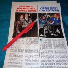 Coleccionismo de Revista Pronto: RECORTE : ROCIO DURCAL, EN EL NUEVO DISCO DE MANOLO ESCOBAR. PRONTO, FBRO 1987(#). Lote 267487609