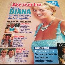 Coleccionismo de Revista Pronto: REVISTA PRONTO N ° 1373 - 29/8/98 - DIANA UN AÑO DESPUÉS DE LA TRAGEDIA. Lote 267524024