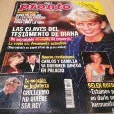 Coleccionismo de Revista Pronto: REVISTA PRONTO N° 1349 - 14/3/98 - LAS CLAVES DEL TESTAMENTO DE DIANA / BELÉN RUEDA / CARLOS Y CAMIL. Lote 267524234