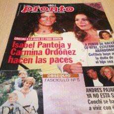 Coleccionismo de Revista Pronto: REVISTA PRONTO N° 1366 - 11/7/98 - ISABEL PANTOJA Y CARMINA ORDÓÑEZ HACEN LAS PACES / DIANA. Lote 267524429