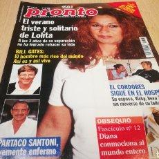 Coleccionismo de Revista Pronto: REVISTA PRONTO N° 1374 - 5/9/98 - EL VERANO TRISTE DE LOLITA / EL CORDOBÉS / BILL GATES. Lote 267524769