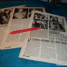 Coleccionismo de Revista Pronto: RECORTE : LA LENTA AGONIA DE UNA DIVA : MARLENE DIETRICH. CAP . 1. PRONTO, ENERO 1989(#). Lote 268875259