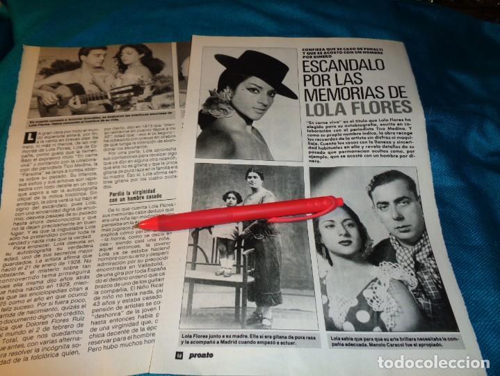 RECORTE : ESCANDALO POR LAS MEMORIAS DE LOLA FLORES. PRONTO, NVMBRE 1990(#) (Papel - Revistas y Periódicos Modernos (a partir de 1.940) - Revista Pronto)