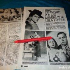 Coleccionismo de Revista Pronto: RECORTE : ESCANDALO POR LAS MEMORIAS DE LOLA FLORES. PRONTO, NVMBRE 1990(#). Lote 268875494
