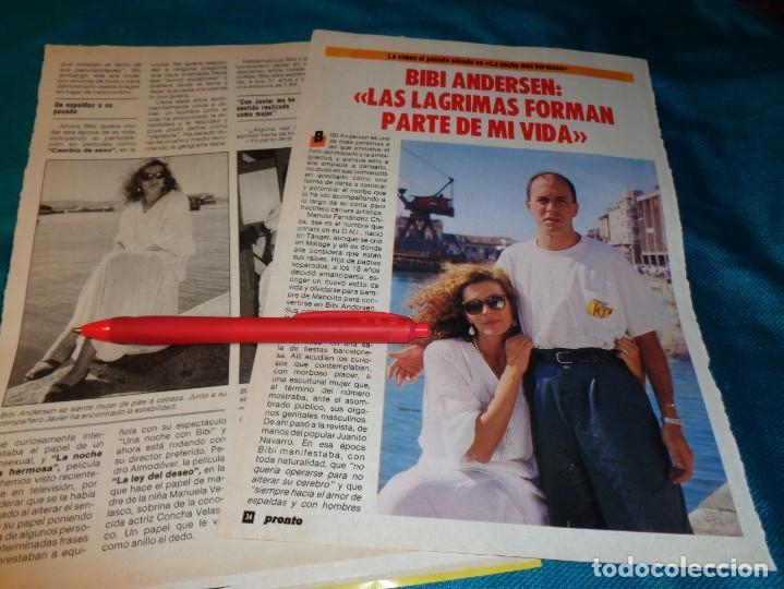 RECORTE : ENTREVISTA A BIBI ANDERSEN. PRONTO, NVMBRE 1986(#) (Papel - Revistas y Periódicos Modernos (a partir de 1.940) - Revista Pronto)