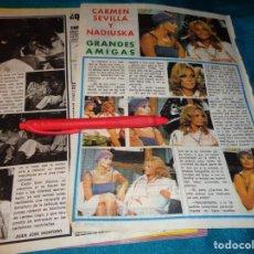 Coleccionismo de Revista Pronto: RECORTE : CARMEN SEVILLA Y NADIUSKA, BUENAS AMIGAS. PRONTO, SPTMBRE 1976(#). Lote 268876694