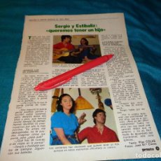 Coleccionismo de Revista Pronto: RECORTE : SERGIO Y ESTIBALIZ, VUELVEN A CANTAR. PRONTO, AGTO 1982(#). Lote 268877009