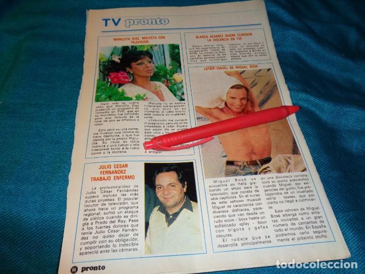 RECORTE : STRIP-TEASE DE MIGUEL BOSÉ. MARUJITA DIAZ. PRONTO, AGTO 1982(#) (Papel - Revistas y Periódicos Modernos (a partir de 1.940) - Revista Pronto)