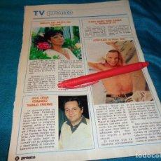 Coleccionismo de Revista Pronto: RECORTE : STRIP-TEASE DE MIGUEL BOSÉ. MARUJITA DIAZ. PRONTO, AGTO 1982(#). Lote 268877124
