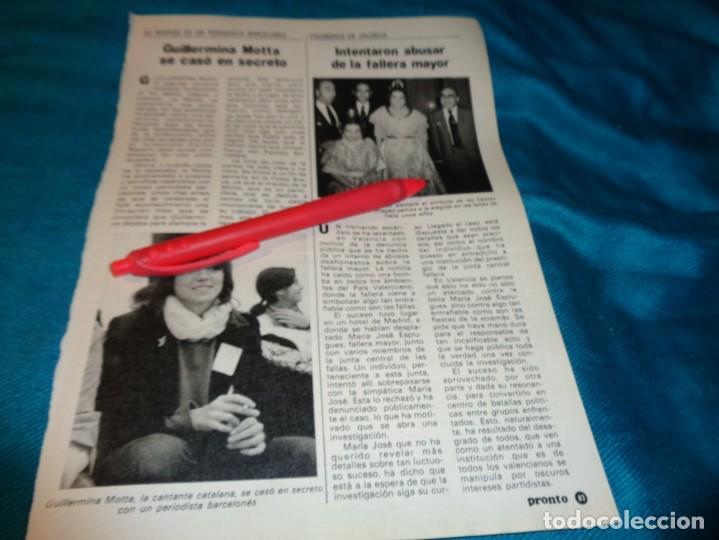 RECORTE : GUILLERMINA MOTTA SE HA CASADO. PRONTO, AGTO 1982(#) (Papel - Revistas y Periódicos Modernos (a partir de 1.940) - Revista Pronto)