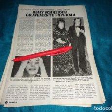 Coleccionismo de Revista Pronto: RECORTE : ROMY SCHNEIDER, GRAVEMENTE ENFERMA . PRONTO, JUNIO 1981(#). Lote 269360158