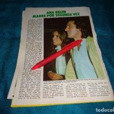 Coleccionismo de Revista Pronto: RECORTE : ANA BELEN, MADRE POR SEGUNDA VEZ. PRONTO, OCTBRE 1983(#). Lote 269363843