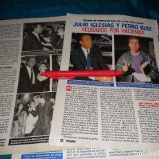 Coleccionismo de Revista Pronto: RECORTE : JULIO IGLESIAS Y PEDRO RUIZ, ACOSADOS POR HACIENDA. PRONTO, ABRIL 1988 (#). Lote 269628908