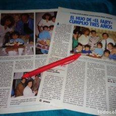 Coleccionismo de Revista Pronto: RECORTE : EL HIJO DE EL FARY, CUMPLE 3 AÑOS. PRONTO, ABRIL 1986 (#). Lote 269630513