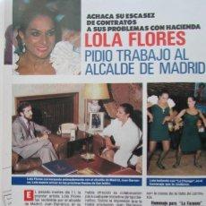 Coleccionismo de Revista Pronto: RECORTE REVISTA PRONTO N.º 860 1988 LOLA FLORES. Lote 270546583