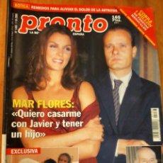 Coleccionismo de Revista Pronto: PRONTO Nº 1483 - 2000 - MAR FLORES - ADOLFO MARSILLACH IMMA DEL MORAL - ANTONIO DAVID Y MAS. Lote 272394323