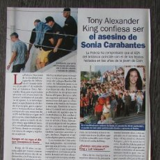 Coleccionismo de Revista Pronto: RECORTE REVISTA PRONTO N.º 1638 2003 SONIA CARABANTES. ALEXANDER KING. Lote 276162533