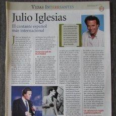 Coleccionismo de Revista Pronto: RECORTE REVISTA PRONTO N.º 1638 2003 JULIO IGLESIAS 4 PGS. Lote 276162838